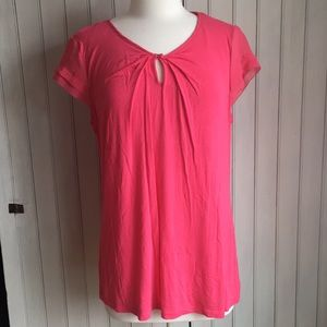 🍁Pullover career blouse, pink salmon color, sz L